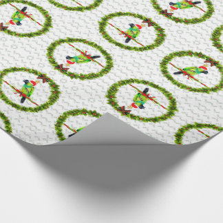 Perroquet de Nanday Concure dans le casquette de Papiers Cadeaux Noël