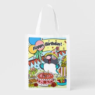 Perroquet masqué par noir de joyeux anniversaire cabas épicerie