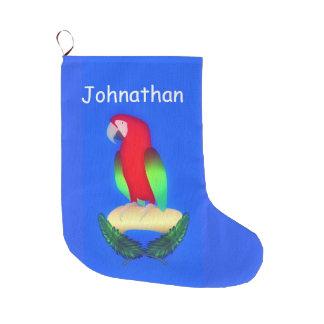 Perroquet sur le bleu grande chaussette de noël
