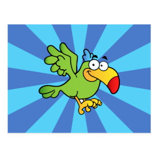 Perroquet vert de bande dessinée cartes postales