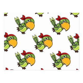 Perroquet vert de pirate de bande dessinée cartes postales