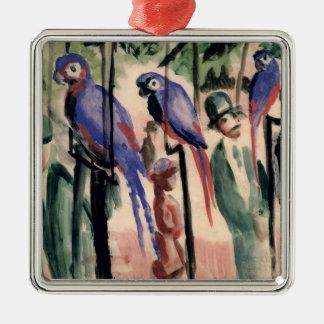 Perroquets bleus ornement carré argenté