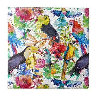 Perroquets colorés d'aquarelle carreau