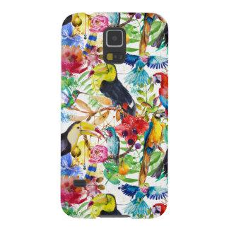 Perroquets colorés d'aquarelle protections galaxy s5