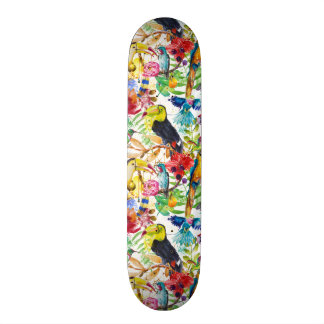 Perroquets colorés d'aquarelle skateboards personnalisables