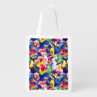 Perroquets d'aquarelle sacs d'épicerie réutilisables
