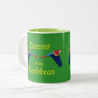 Perroquets du vert des Caraïbes Tasse 2 Couleurs