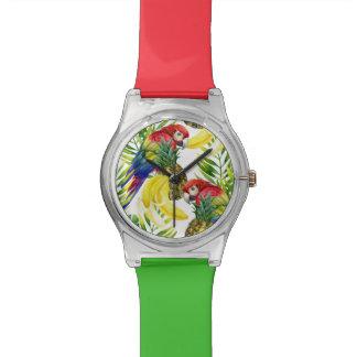 Perroquets et fruit tropical montre