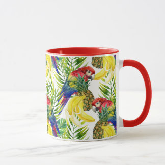 Perroquets et fruit tropical tasses