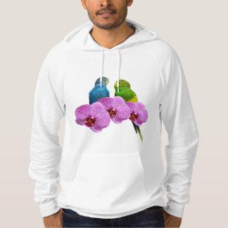 Perruche avec l'orchidée pourpre pull à capuche