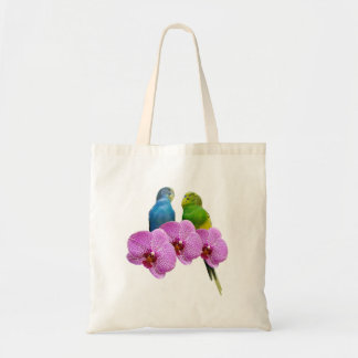 Perruche avec l'orchidée pourpre tote bag