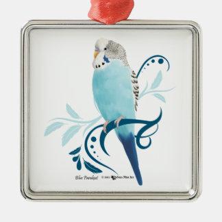 Perruche bleue ornement carré argenté