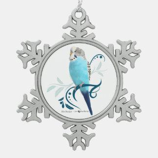 Perruche bleue ornement flocon de neige pewter