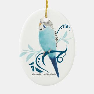 Perruche bleue ornement ovale en céramique