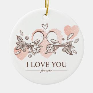 Perruches adorables en ornement de Valentine |