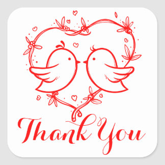 Perruches de Merci et noce de rouge de coeur Sticker Carré