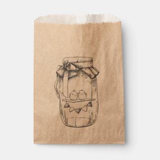 Perruches de pot de maçon épousant, douche sachets en papier