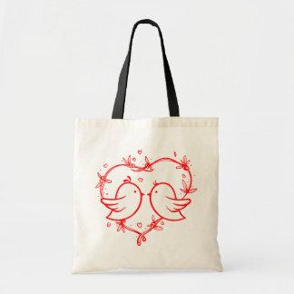 Perruches et coeurs rouges épousant l'amour sacs de toile
