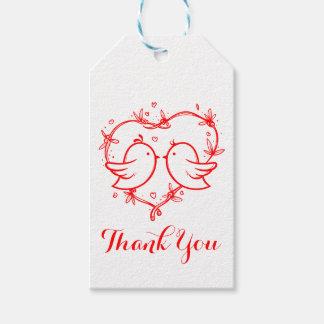 Perruches et noce rouges de Merci de coeur Étiquettes-cadeau