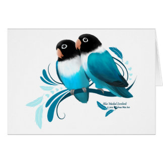 Perruches masquées par bleu carte de vœux