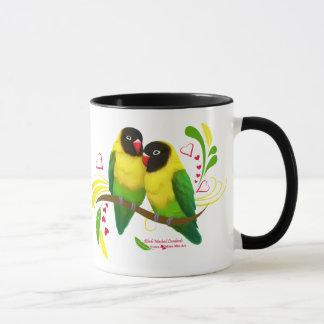 Perruches masquées par noir mug