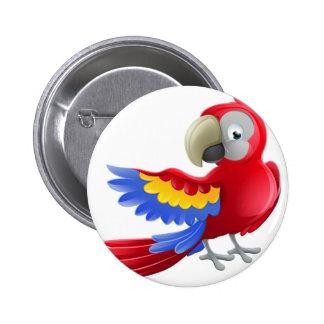 Personnage de dessin animé d'animal de perroquet badges