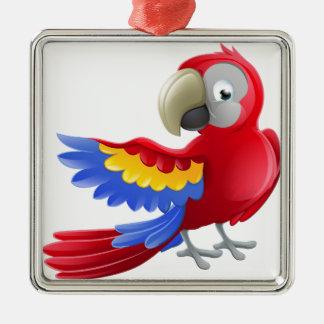 Personnage de dessin animé d'animal de perroquet ornement carré argenté