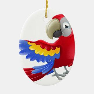 Personnage de dessin animé d'animal de perroquet ornement ovale en céramique