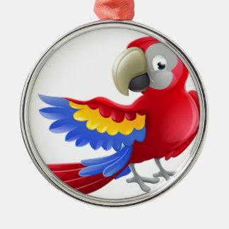 Personnage de dessin animé d'animal de perroquet ornement rond argenté