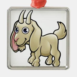 Personnage de dessin animé d'animaux de ferme de ornement carré argenté