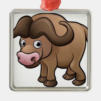 Personnage de dessin animé d'animaux de safari de ornement carré argenté