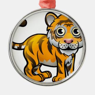 Personnage de dessin animé d'animaux de safari de ornement rond argenté