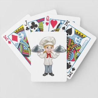 Personnage de dessin animé de chef de femme jeu de cartes