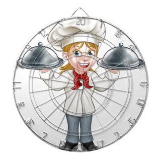 Personnage de dessin animé de chef de femme jeux de fléchettes