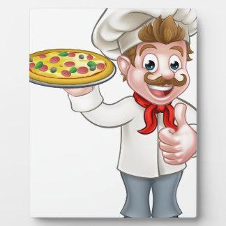 Personnage de dessin animé de chef de pizza plaque photo