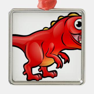 Personnage de dessin animé de dinosaure de Rex de Ornement Carré Argenté