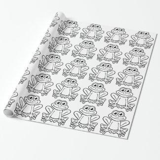 Personnage de dessin animé de grenouille papier cadeau