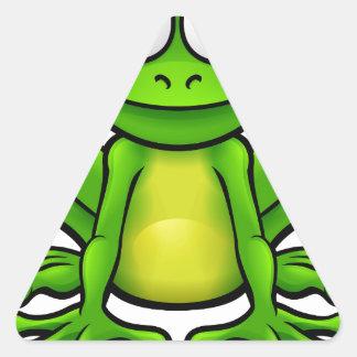Personnage de dessin animé de grenouille sticker triangulaire