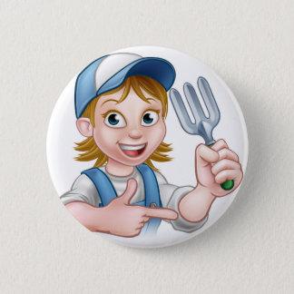 Personnage de dessin animé de jardinière de femme badges