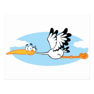 Personnage de dessin animé de mascotte de cigogne carte postale