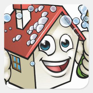 Personnage de dessin animé de nettoyage de Chambre Sticker Carré