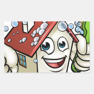 Personnage de dessin animé de nettoyage de Chambre Sticker Rectangulaire