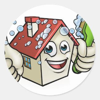 Personnage de dessin animé de nettoyage de Chambre Sticker Rond