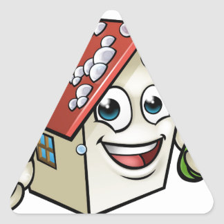 Personnage de dessin animé de nettoyage de Chambre Sticker Triangulaire