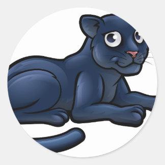 Personnage de dessin animé de panthère noire sticker rond