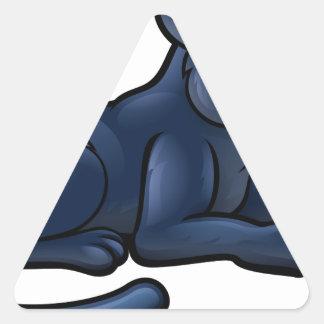Personnage de dessin animé de panthère noire sticker triangulaire