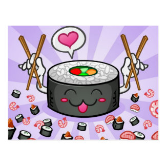 Personnage de dessin animé de sushi mangeant un carte postale