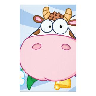 Personnage de dessin animé de vache papier à lettre customisable