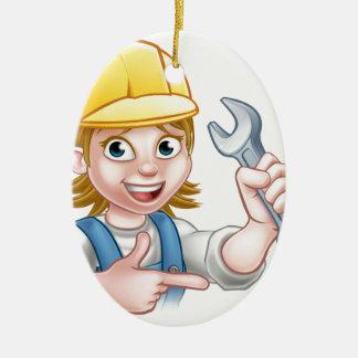 Personnage de dessin animé femelle de mécanicien ornement ovale en céramique