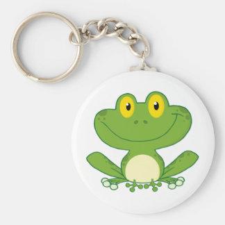 Personnage de dessin animé mignon de grenouille porte-clé rond